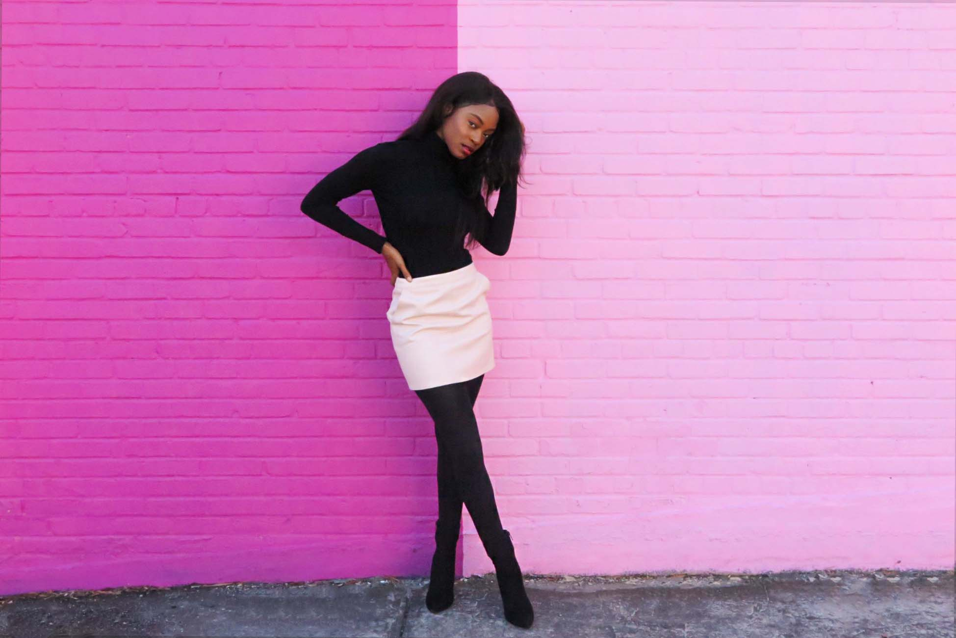 tanaye white in pink skirt